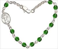 "4mm Fire Polished Rosary Bracelet, 7.25"", Guardian Angel Charm, Emerald, # 66217"