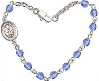 "4mm Fire Polished Rosary Bracelet, 7.25"", Holy Spirit Confirmation Charm, Sapphire, # 66222"