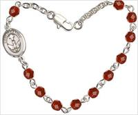 "4mm Fire Polished Rosary Bracelet, 7.25"", Holy Spirit Confirmation Charm, Ruby, # 66226"
