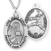 "Female Softball / Christ Medal in Sterling Silver, 7/8"", Your Choice of Chain, # 6640"