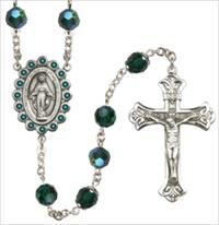 100% Sterling 8mm Birthstone Rosary, Emerald, # 66509