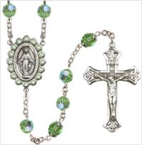 100% Sterling 8mm Birthstone Rosary, Peridot, # 66512