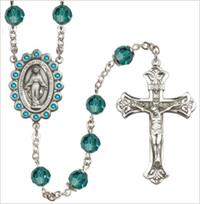 100% Sterling 8mm Birthstone Rosary, Zircon, # 66516