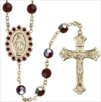 100% 14kt Gold Filled 8mm Birthstone Rosary, Garnet, # 66517