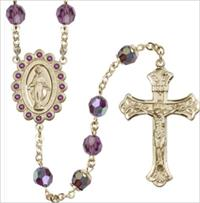 100% 14kt Gold Filled 8mm Birthstone Rosary, Amethyst, # 66518