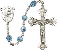 100% 14kt Gold Filled 8mm Birthstone Rosary, Aqua, (Sterling Version Displayed) # 66519