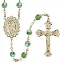 100% 14kt Gold Filled 8mm Birthstone Rosary, Peridot, # 66524