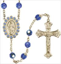 100% 14kt Gold Filled 8mm Birthstone Rosary, Sapphire, # 66525