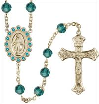 100% 14kt Gold Filled 8mm Birthstone Rosary, Zircon, # 66528