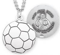 "Soccer / Christ Medal in Sterling Silver, 11/16"", Your Choice of Chain, # 6654"