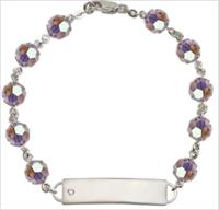 100% Sterling 8mm Birthstone Rosary Bracelet w/ ID Tag, Light Amethyst, # 66552