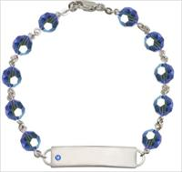 100% Sterling 8mm Birthstone Rosary Bracelet w/ ID Tag, Sapphire, # 66555