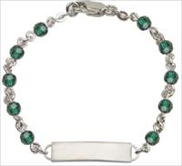 100% Sterling 4mm Birthstone Rosary Bracelet w/ ID Tag, Emerald, # 66563