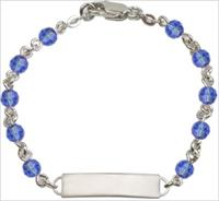 100% Sterling 4mm Birthstone Rosary Bracelet w/ ID Tag, Sapphire, # 66567