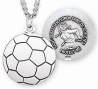 "Soccer / St. Sebastian Medal in Sterling Silver, 11/16"", Your Choice of Chain, # 6662"