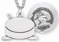"Hockey / St. Sebastian Medal in Sterling Silver, 11/16"", Your Choice of Chain, # 6663"