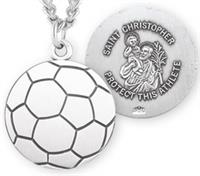 "Soccer / St. Christopher Medal in Sterling Silver, 11/16"", Your Choice of Chain, # 6670"