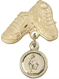 Baby Boots Baby Pin with Miraculous Medal, 14kt Gold Filled, # 66790