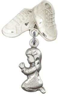 Baby Boots Pin with Baby Girl Charm, Sterling Silver, # 66973