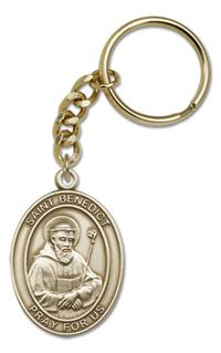 "Keychain, St. Benedict, Bronze Oxide Finished Pewter, 1-3/8"" Medal, #98857"