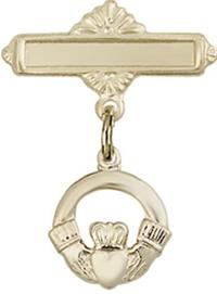 Baby Pin with Claddagh Charm, 14kt Gold Filled, # 67151