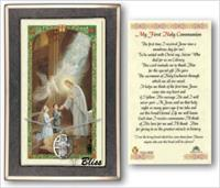 First Communion Medal with Prayer Card, gift boxed, Sterling Silver, # 67199