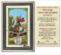 St. George Medal with Prayer Card, Gift Boxed, Sterling Silver, # 67284