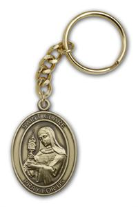 "Keychain, St. Clare, Bronze Oxide Finished Pewter, 1-3/8"" Medal, #98860"