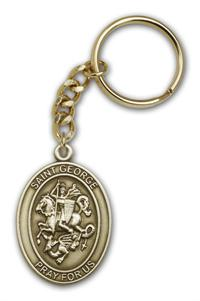 "Keychain, St. George, Bronze Oxide Finished Pewter, 1-3/8"" Medal, #98865"