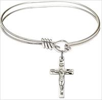 "Oval Eye Hook Bangle Bracelet, 5-3/4"", Rhodium Finish, Crucifix Charm, # 67527"