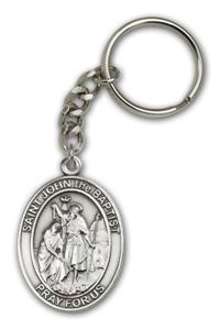 "Keychain, St. John the Baptist, Silver Oxide Finished Pewter, 1-3/8"" Medal, #98875"