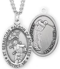 "St. Sebastian / Golf Medal, 15/16"" Oval, Your Choice of Chain, # 6755"
