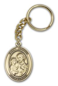 "Keychain, St. Joseph & Child, Bronze Oxide Finished Pewter, 1-3/8"" Medal, #98877"