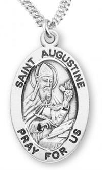 "St. Augustine Sterling Silver Medal, 7/8"", Your Choice of Chain, # 6772"