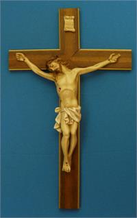 "20"" Crucifix, Hand Painted Alabaster on Wood, Made in Italy, # 67824"