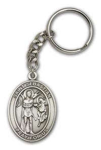 "Keychain, St. Sebastian, Silver Oxide Finished Pewter, 1-3/8"" Medal, #98909"