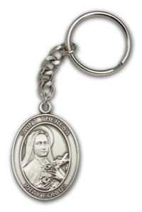 "Keychain, St. Therese, Silver Oxide Finished Pewter, 1-3/8"" Medal, #98896"