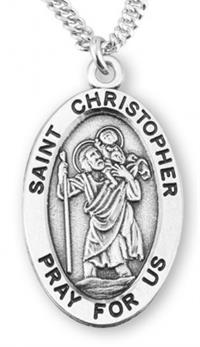 "St. Christopher Sterling Silver Medal, 7/8"", Your Choice of Chain, # 6830"