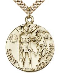 St. Sebastian 15/16 in. 14kt Gold Filled Medal, Your Choice of Chain # 6898