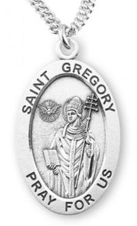 "St. Gregory Sterling Silver Medal, 7/8"", Your Choice of Chain, # 6933"