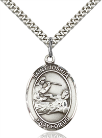 "1""x3/4"" Sterling Silver St. Joshua Medal, Your Choice of Chain, # 70447"