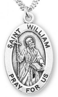 "St. William Sterling Silver Medal, 7/8"", Your Choice of Chain, # 7060"