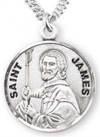 "3/4"" Round Sterling Medal, Your Choice of Chain, St. James, #7129"