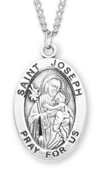 "Saint Joseph & Child Sterling Silver Medal, 15/16"", Your Choice of Chain, # 7246"