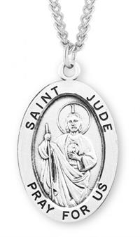"Saint Jude Sterling Silver Medal, 15/16"", Your Choice of Chain, # 7249"