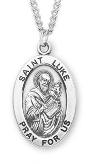 "Saint Luke Sterling Silver Medal, 15/16"", Your Choice of Chain, # 7262"