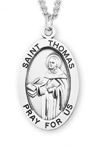 "Saint Thomas Aquinas Sterling Silver Medal, 15/16"", Your Choice of Chain, # 7298"