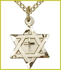 "1/2"" 14kt Gold Filled, Cross & Star of David, Your Choice of Chain, # 7346"