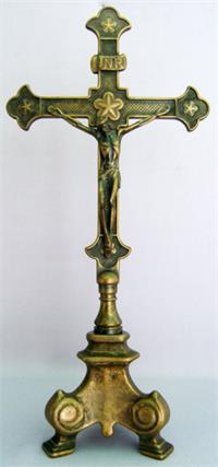 "13"" Standing Antique Brass Crucifix, Made in Italy, # 7364"
