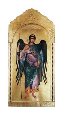 "Archangel Michael Florentine plaque, 21 x 45"", Made in Italy, # 7382"